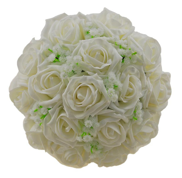 Bridesmaids Ivory Foam Rose & Artificial Gypsophila Wedding Posy