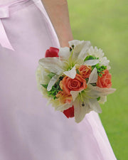 Brides Peach, Raspberry & Ivory Artificial Shower Wedding Bouquet