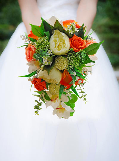 Brides Orange, Peach & Ivory Artificial Shower Wedding Bouquet