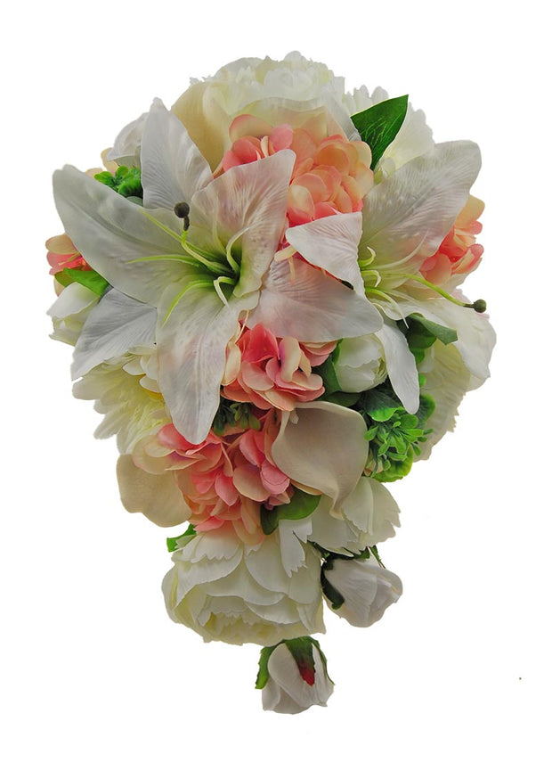 Brides Pink & Ivory Wedding Shower Bouquet Casablanca Lily, Peony, Hydrangea