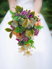 Brides Purple, Plum & Ivory Artificial Bouquet With Dragonfly