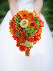 Brides Teardrop Shower Bouquet Orange & Ivory Silk Flowers