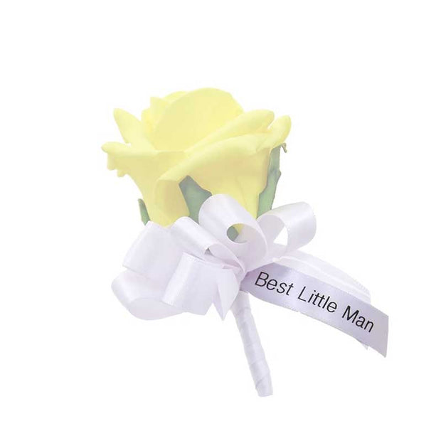 Best Little Man Wedding Buttonhole Ribbon Message