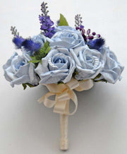 Bridesmaids Light Blue Rose, Thistle & Lavender Wedding Bouquet