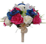 Brides Blue Orchid, Ivory Lily, Cerise Pink Rose Wedding Bouquet