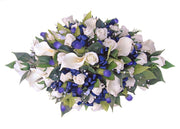 Blue Thistle, Ivory Calla Lily, Rose & Crystal Wedding Top Table Arrangement