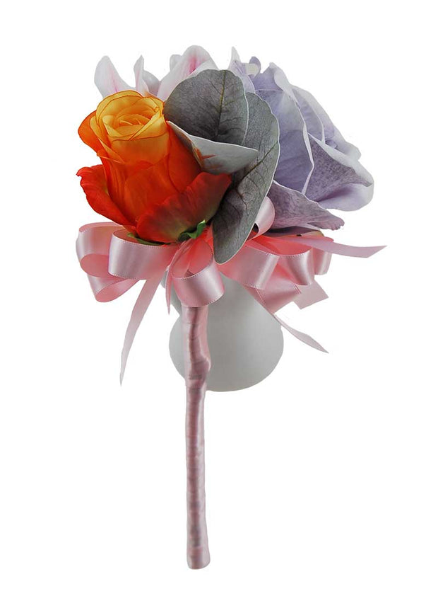 Blue Grey Silk Rose, Orange Rose & Pink Orchid Flower Girls Wedding Wand
