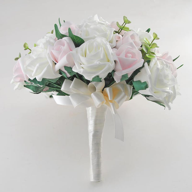 Brides Pink, Ivory Foam Rose & Eucalyptus Wedding Bouquet