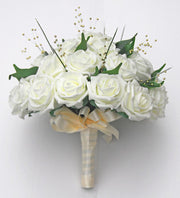 Brides Ivory Foam Rose & Gold Pearl Wedding Bouquet