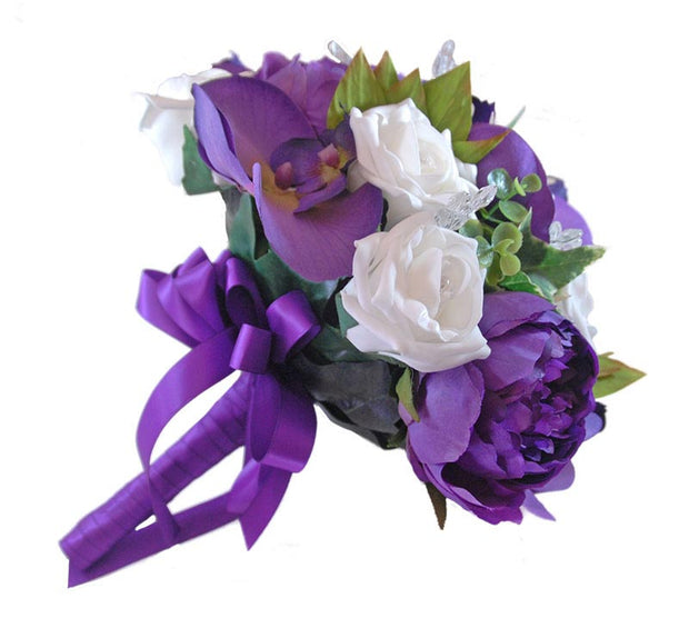 Brides Purple Peony, Orchid & Ivory Rose Crystal Wedding Bouquet