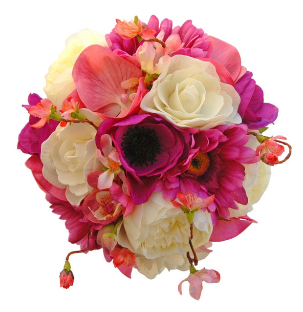 Brides Pink Anemone, Orchid & Ivory Rose Wedding Bouquet