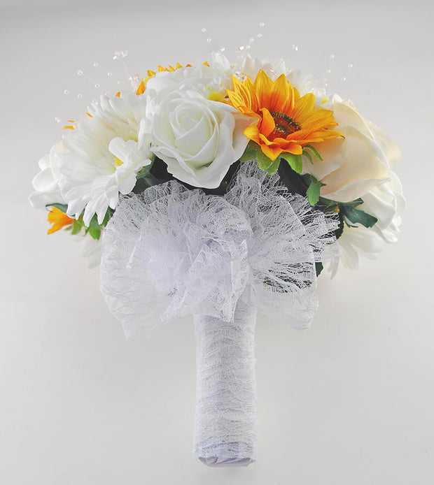 Brides Golden Silk Sunflower, Pearl, Daisy & Ivory Rose Wedding Bouquet