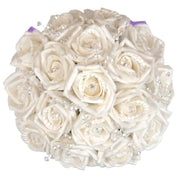 Bridesmaids Ivory Diamante Rose & Crystal Wedding Posy Bouquet