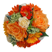 Bridesmaids Orange Silk Rose, Sunflower & Poppy Wedding Bouquet