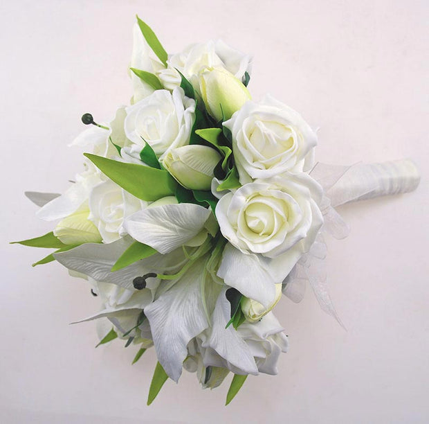 Brides Ivory Silk Casablanca Lily, Tulip & Rose Wedding Bouquet