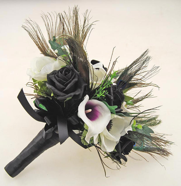 Brides Black Rose, Purple Calla Lily & Peacock Feather Wedding Bouquet