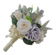 Brides Blue Grey, Ivory Silk Rose & Green Berry Wedding Bouquet