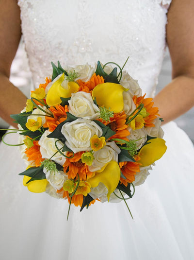 Yellow Calla Lily, Golden Sunflower, Buttercup & Rose Bridal Bouquet