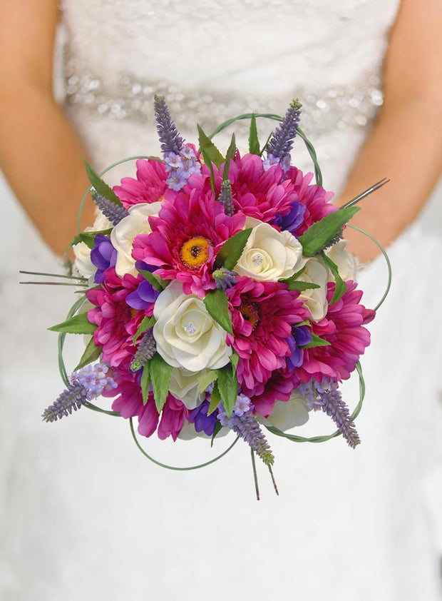Brides Cerise Gerbera, Ivory Rose & Purple Freesia Wedding Bouquet