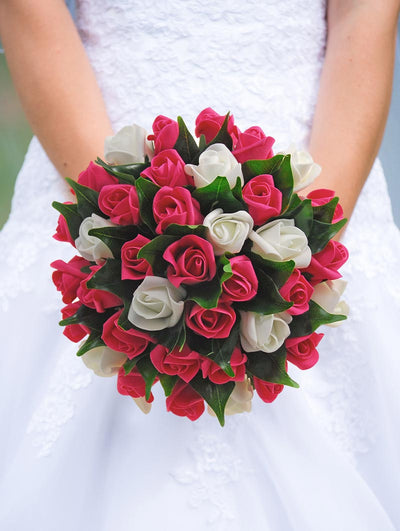 Brides Cerise Pink & Ivory Foam Rose Wedding Bouquet