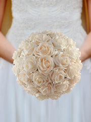 Brides Cream Foam Rose Wedding Posy Bouquet