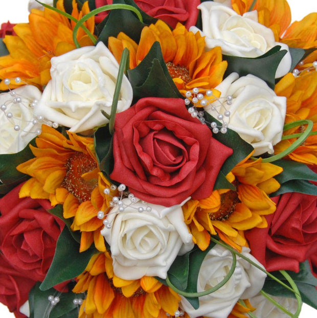 Brides Golden Silk Sunflower & Red Rose Pearl Wedding Bouquet