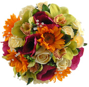 Brides Sunflower, Green Orchid & Cerise Silk Anemone Wedding Bouquet