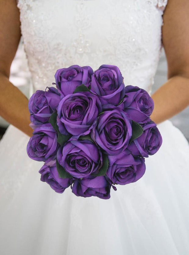 Brides Artificial Purple Silk Rose Wedding Posy Bouquet