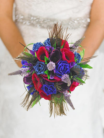 Brides Royal Blue, Teal Rose, Purple Silk Freesia, Lilac Veronica Bouquet