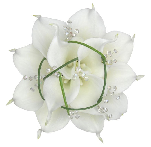 Bridesmaids Ivory Calla Lily, Grass & Crystal Wedding Bouquet