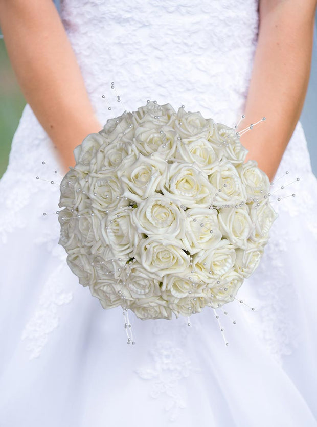 Brides Ivory Foam Rose & Pearl Spray Wedding Posy Bouquet