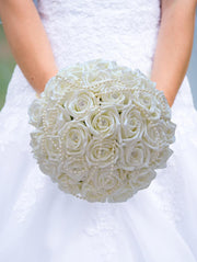 Brides Ivory Diamante Foam Rose & Pearl Wedding Bouquet