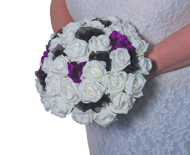 Brides Ivory Diamante Rose & Purple Lisianthus Wedding Bouquet
