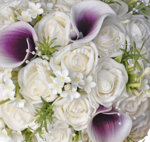 Brides Ivory Rose, Stephanotis & Purple Calla Lily Wedding Bouquet