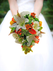 Brides Ivory Lily, Gerbera, Orange Calla, Berry & Orchid Shower Bouquet