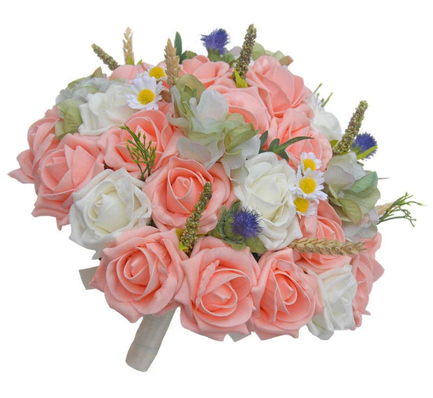 Brides Peach Rose, Thistle, Cattail & Daisy Wedding Bouquet