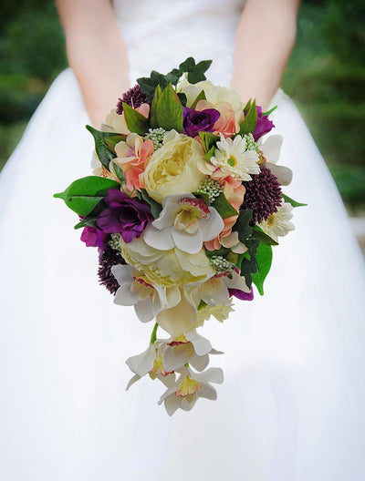 Ivory Peony Gerbera Orchid Purple Freesia Bridal Shower Bouquet