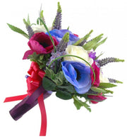Brides Ivory Rose, Cerise & Blue Anemone Wedding Bouquet