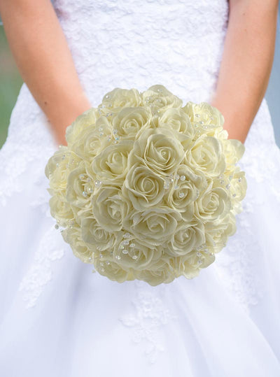 Brides Ivory Rose & Crystal Wedding Posy Bouquet