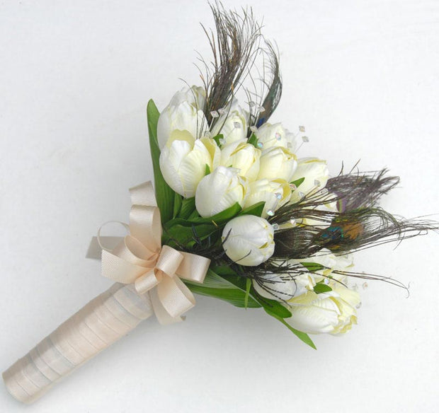 Brides Ivory Silk Tulip, Peacock Feather & Crystal Wedding Bouquet