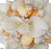 Brides Ivory Soft Touch Calla Lily, Crystal & Seashell Wedding Bouquet