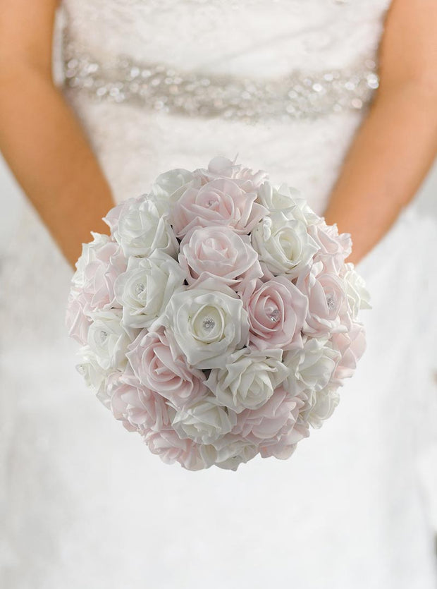Brides Pink & Ivory Diamante Foam Rose Wedding Bouquet