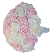 Brides Pink, Ivory Diamante Rose & Pearl Wedding Bouquet