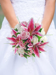 Brides Pink Silk Stargazer Lily & Ivory Rose Wedding Bouquet