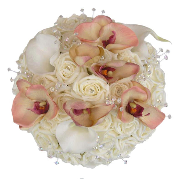 Brides Ivory Diamante Rose, Orchid & Calla Lily Artificial Wedding Bouquet