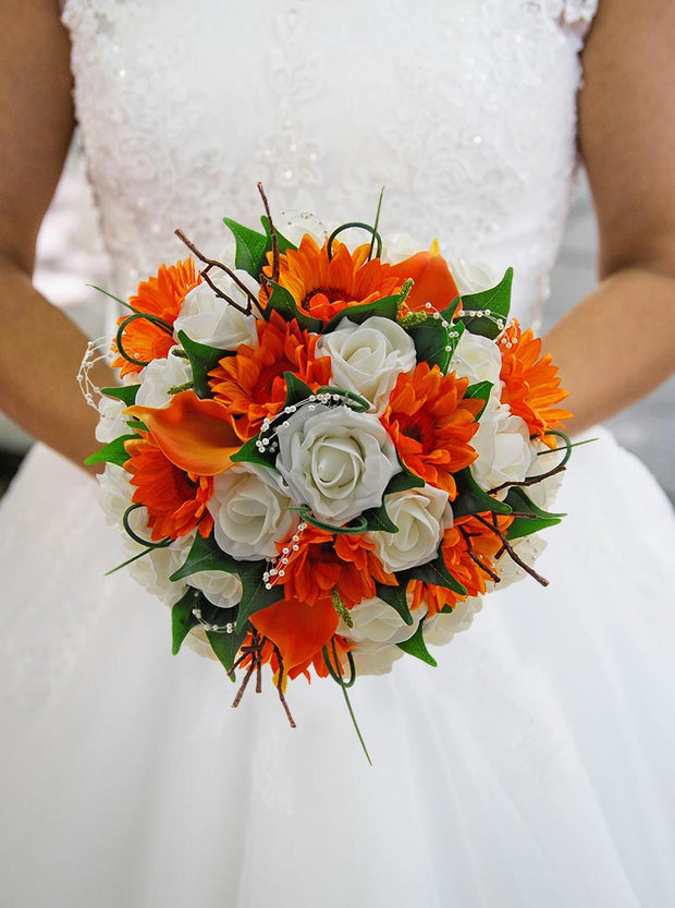 Brides Orange Silk Sunflower, Calla Lily, Ivory Rose & Pearl Bouquet