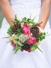 Brides Pink Silk Peony & Dried Lotus Wedding Bouquet