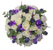 Brides Ivory Rose, Thistle & Purple Heather Wedding Bouquet