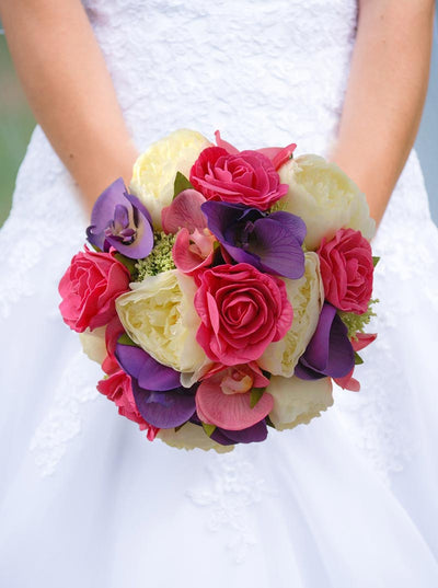 Brides Cerise Pink Rose, Purple Orchid & Ivory Peony Bouquet