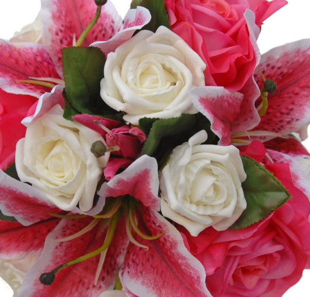 Bridesmaids Pink Rose, Stargazer Lily & Ivory Rose Wedding Bouquet